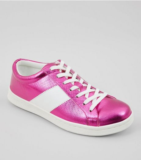 Pink Metallic Lace Up Trainers | New Look