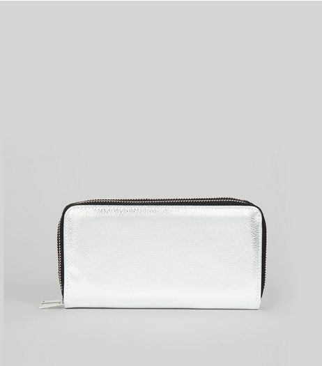 Silver Double Zip Around Purse  | New Look