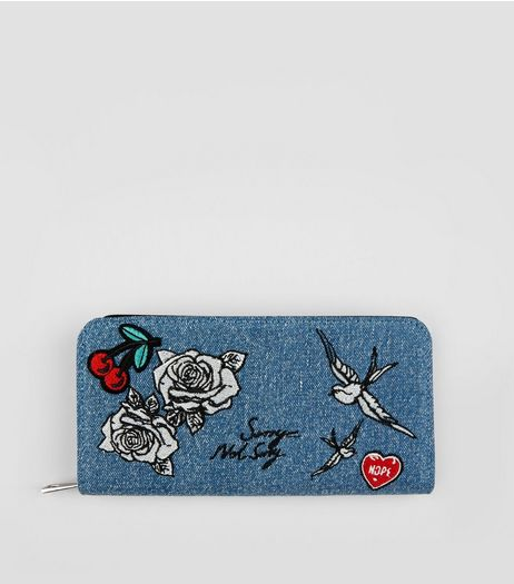 Denim Floral Badge Embroidered Purse | New Look