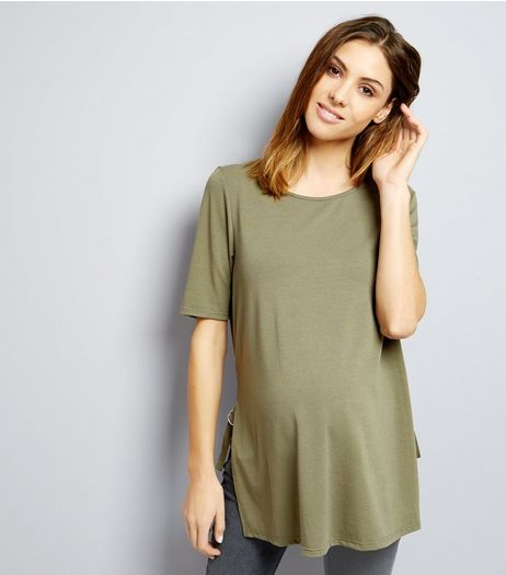 Maternity Khaki Ring Trim Longline Tunic  | New Look