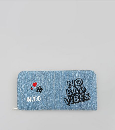 Blue Denim No Bad Vibes Embroidered Purse | New Look