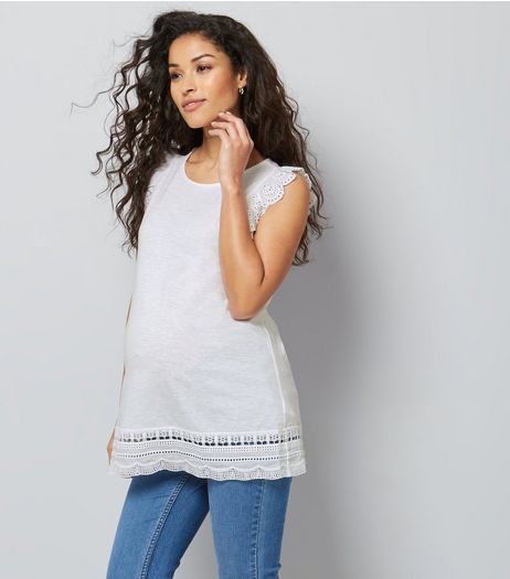 Maternity White Frill Sleeve Broderie Hem Top | New Look