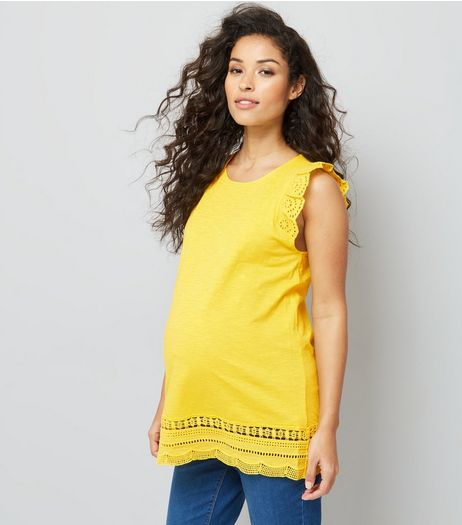 Maternity Yellow Frill Sleeve Broderie Hem Top | New Look