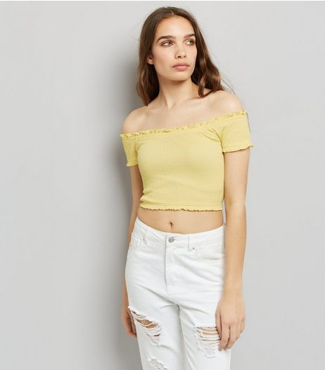 Yellow Short Sleeve Frill Trim Bardot Neck Top | New Look