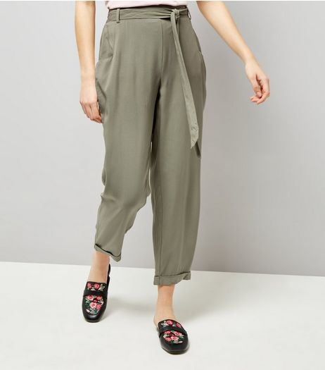 Khaki Turn Up Hem Tie Waist Joggers  | New Look
