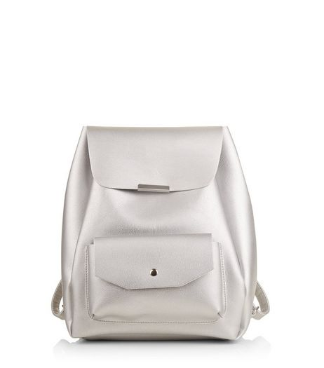 Silver Pocket Front Drawsting Backpack | New Look