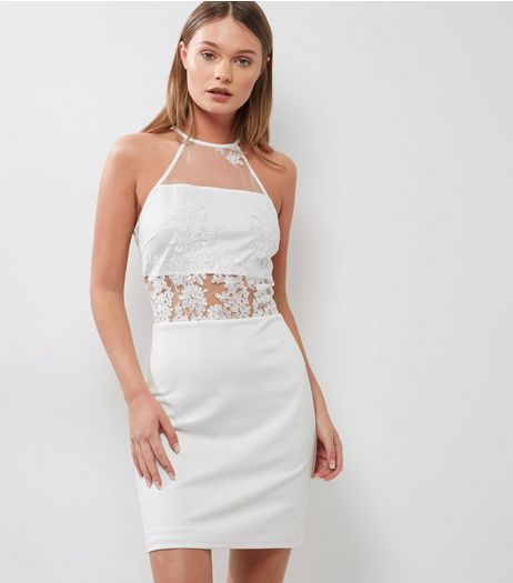 Parisian White High Neck Embroidered Bodycon Dress | New Look