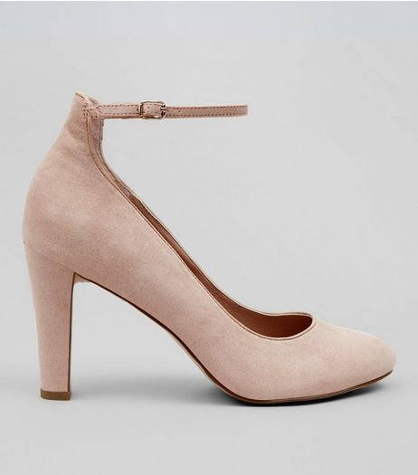 Nude Comfort Suedette Ankle Strap Court Shoes | New Look