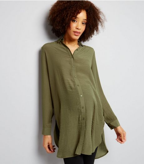 Maternity Khaki Longline Shirt | New Look