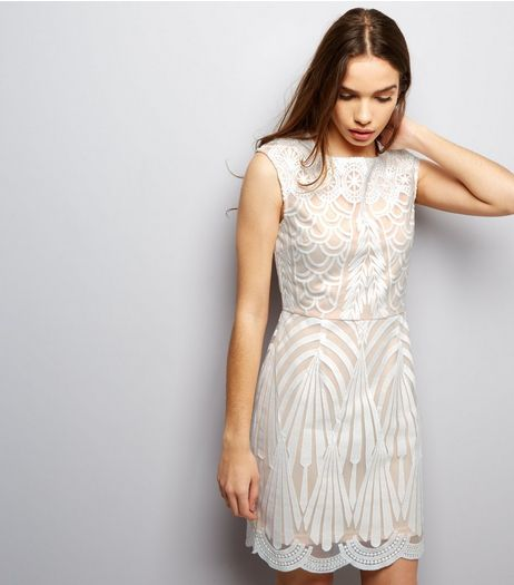 Parisian White Embroidered Mesh Dress  | New Look