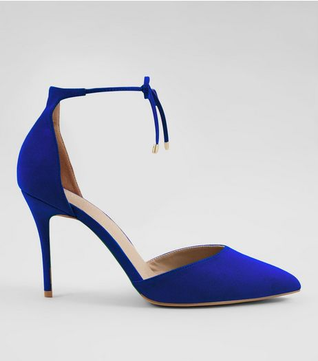 Blue Comfort Suedette Tie Up Front Heels | New Look