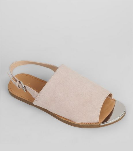 Wide Fit Pink Suedette Metal Trim Mules | New Look