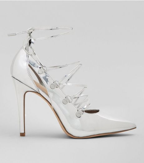Silver Patent Lace Up Heels | New Look