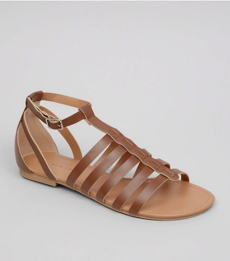 Wide Fit Tan Gladiator Sandals | New Look