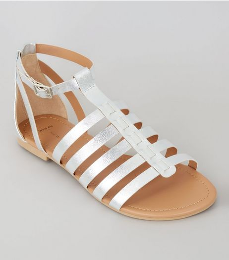 Wide Fit Silver Gladiator Sandals | New Look
