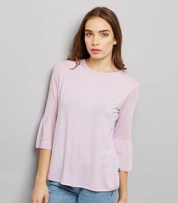 Lilac Spot Print Mesh Bell Sleeve Top