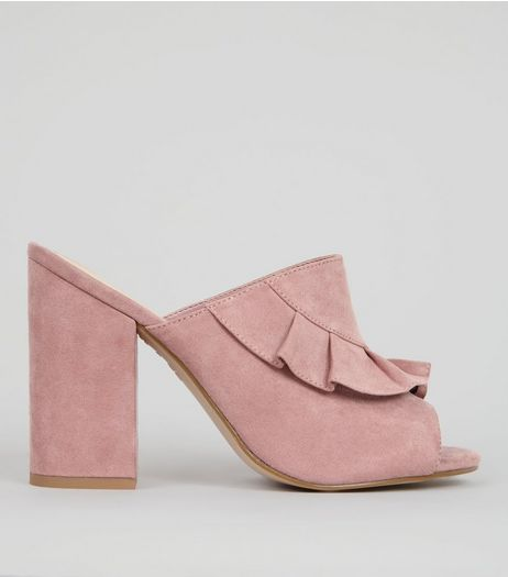 Pink Suedette Frill Trim Heeled Mules | New Look