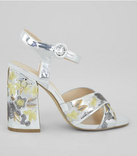 Silver Patent Floral Embroidered Heeled Sandals  | New Look