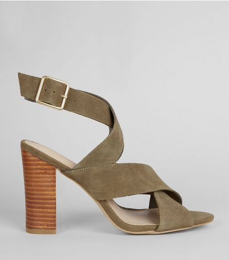 Khaki Comfort Suede Contrast Block Heeled Sandals | New Look