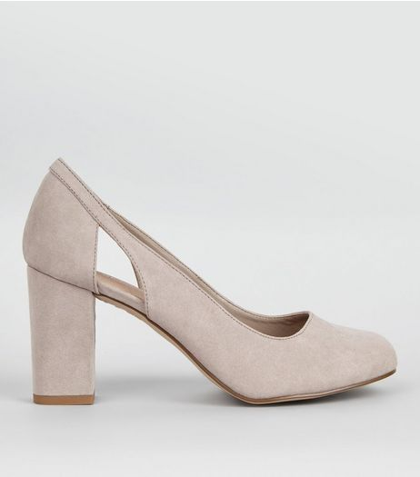 Wide Fit Grey Comfort Cut Out Side Block Heels | New Look