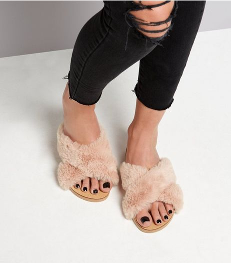 Wide Fit Pink Faux Fur Cross Front Sliders  | New Look