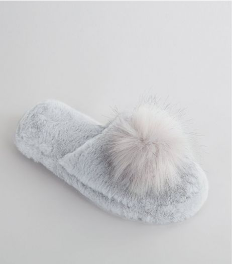 Grey Faux Fur Pom Pom Top Slider Slippers | New Look