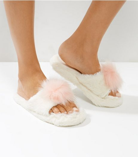 White Faux Fur Pom Pom Top Slider Slippers | New Look