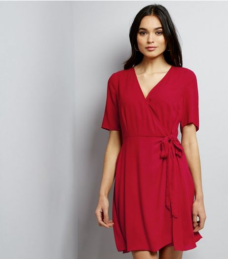 Red Crepe Wrap Front Dress | New Look