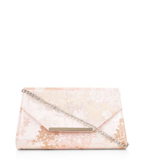 Nude Pink Floral Brocade Clutch Bag | New Look