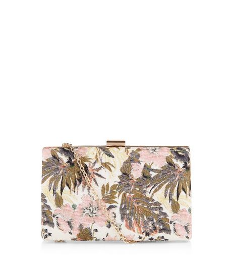 Nude Pink Floral Jacquard Box Clutch | New Look