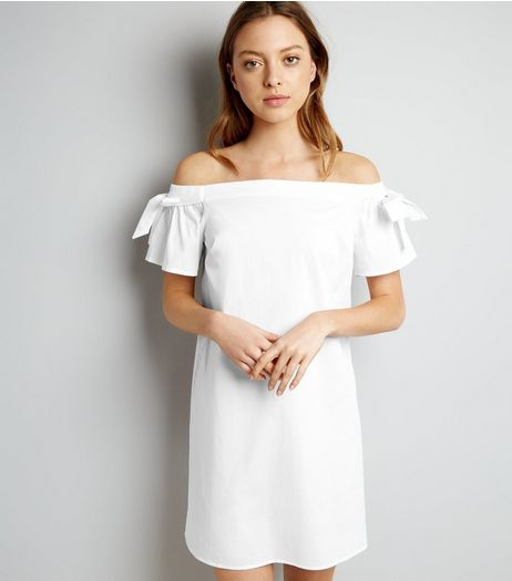 White Tie Sleeve Bardot Neck Dress | New Look