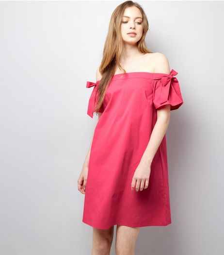 Bright Pink Tie Sleeve Bardot Neck Dress  | New Look