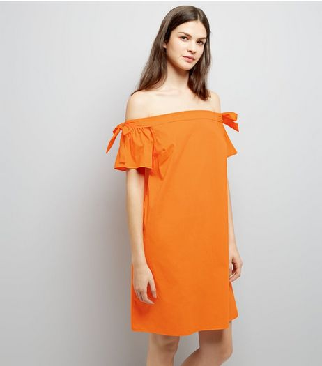 Bright Orange Tie Sleeve Bardot Neck Dress | New Look