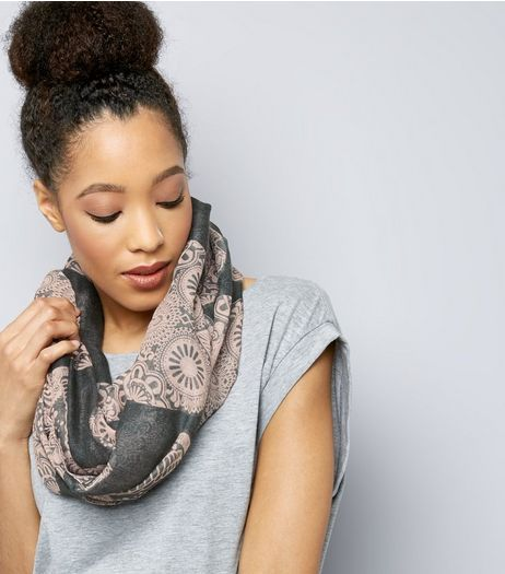 Grey Skull Print Snood | New Look