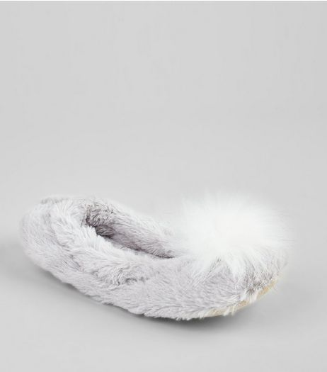 Grey Pom Pom Front Faux Fur Slippers | New Look