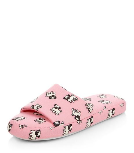 Pink Pug Print Slider Slippers | New Look
