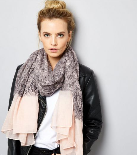 Grey Lace Print Contrast Trim Long Scarf | New Look