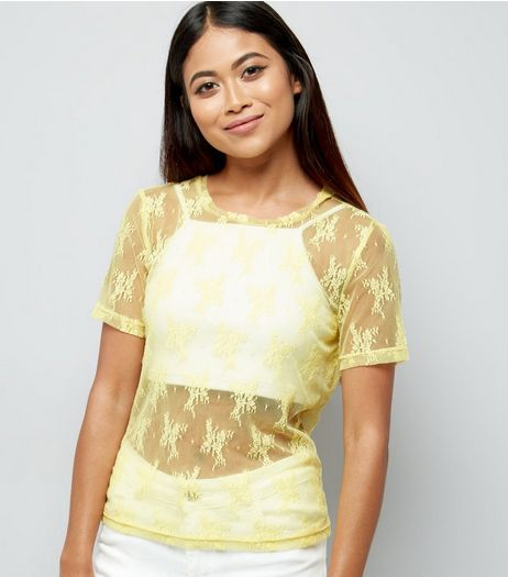 Petite Yellow Floral Lace Mesh T-Shirt | New Look