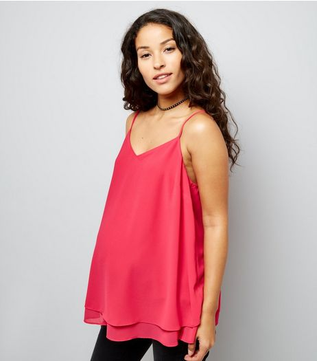 Maternity Bright Pink Cross Back Cami | New Look