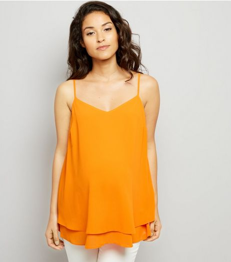 Maternity Orange Cross Back Cami | New Look