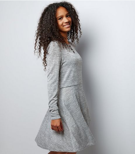 Teens Grey Fine Knit Lattice Front Skater Dress | New Look