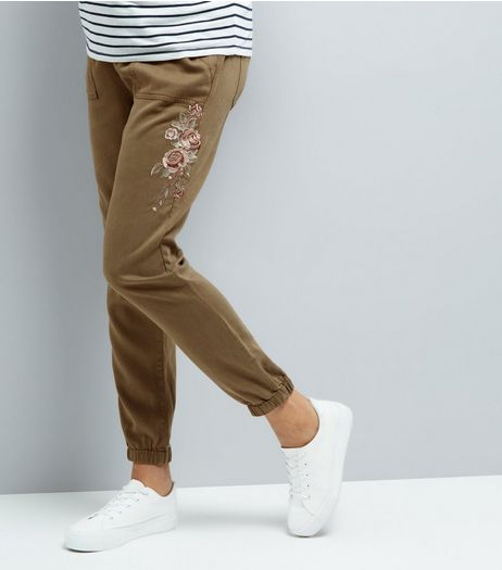 Maternity Khaki Rose Embroidered Joggers | New Look