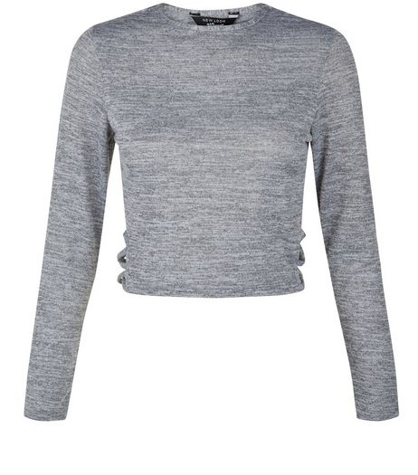 Teens Grey Lattice Side Long Sleeve Top  | New Look