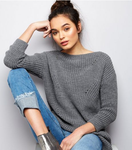 Cameo Rose Grey Ladder Knit Jumper | New Look