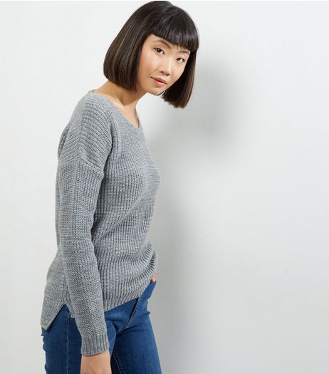 Cameo Rose Grey Lattice Back Jumper | New Look