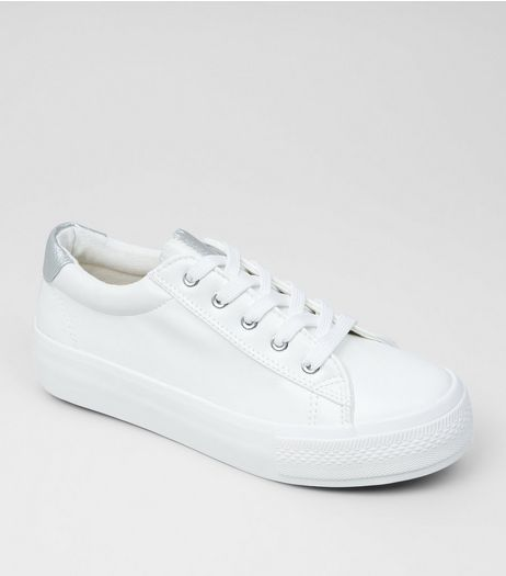 Wide Fit White Contrast Trim Trainers  | New Look