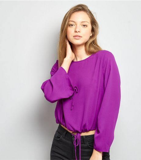 Purple Ruched Tie Hem Top | New Look