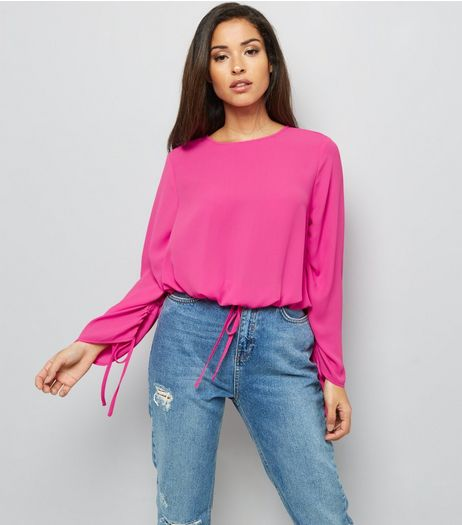 Bright Pink Ruched Tie Hem Top | New Look