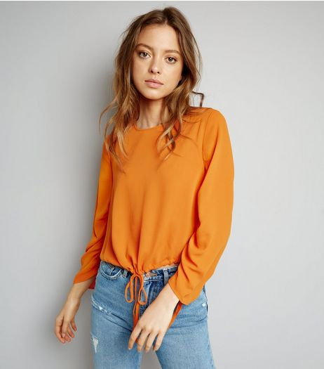 Bright Orange Ruched Tie Hem Top | New Look