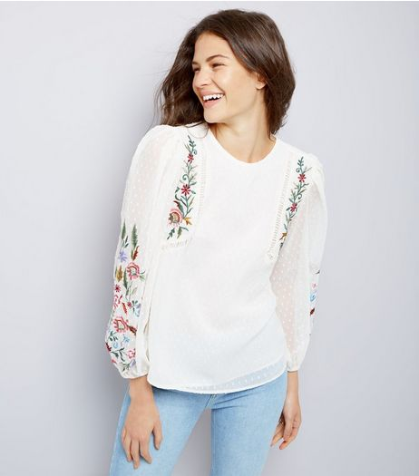 White Floral Embroidered Chiffon Top  | New Look